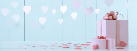 pink mit Herzen Standard-Bild