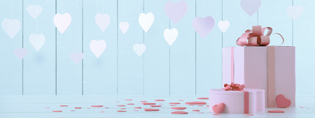 pink present with hearts Foto de archivo