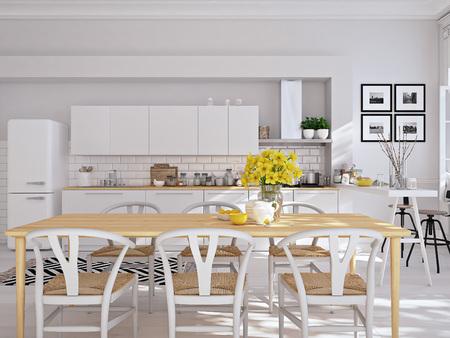 로프트 아파트에 현대적인 북유럽 주방. 3D 렌더링