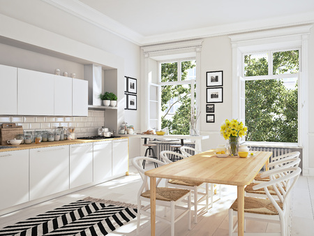 clean window: modern nordic kitchen in loft apartment. 3D rendering