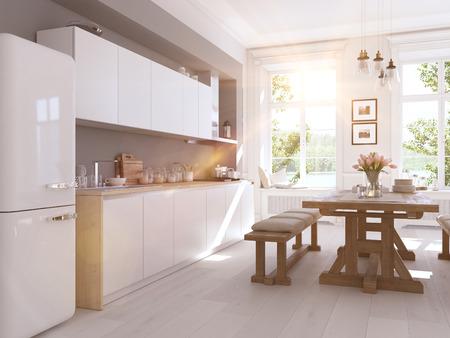 Moderne noordse keuken in de loft appartement. 3D-rendering Stockfoto - 71735366