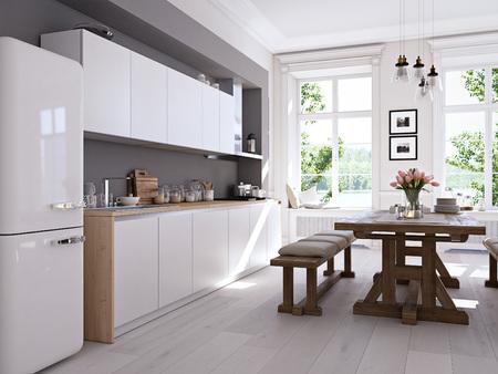 Moderne nordische Küche in Loft-Wohnung. 3D-Rendering Standard-Bild - 71572196