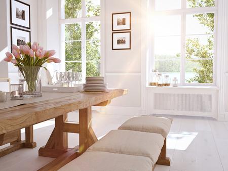 中二階のアパートでモダンな北欧キッチン。3 D レンダリング