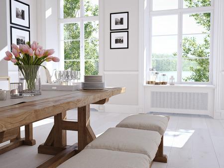 Moderna cucina nordica in loft. il rendering 3D Archivio Fotografico - 71483719