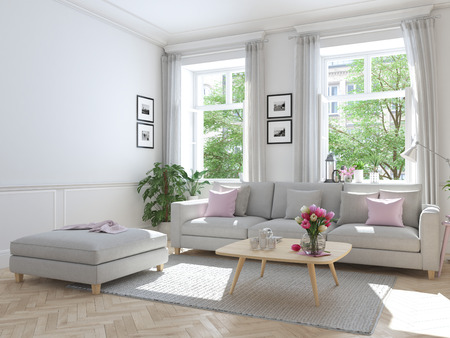 modern living room in townhouse. 3d rendering Stock Photo