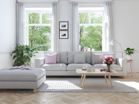 moderne woonkamer in herenhuis. 3D-rendering Stockfoto
