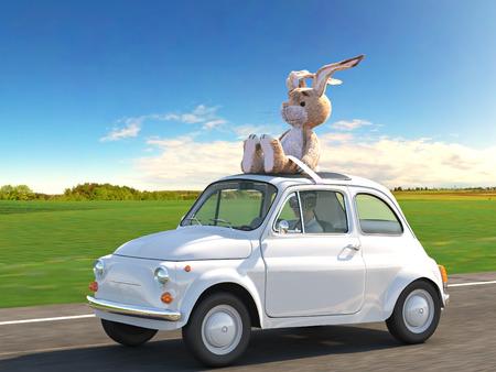 lapin: Pâques est à venir. rendu 3d Banque d'images