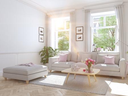 modern living room in townhouse. 3d rendering Standard-Bild