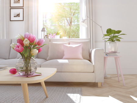 modern living room in townhouse. 3d rendering Banque d'images