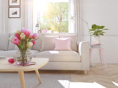 Salon moderne en maison de ville. Rendu 3D Banque d'images - 73918564