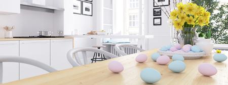 中二階のアパートでモダンな北欧キッチン。3 D レンダリング 写真素材 - 74650515