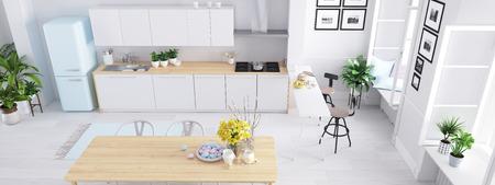 Vue d'ensemble cuisine nordique moderne dans un loft. Rendu 3D