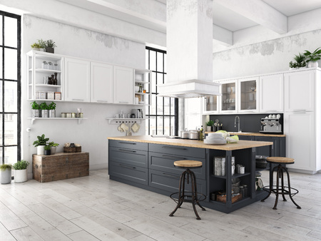 modern nordic kitchen in loft apartment. 3D rendering 免版税图像 - 78573865