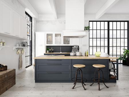 cuisine nordique moderne loft. rendu 3D
