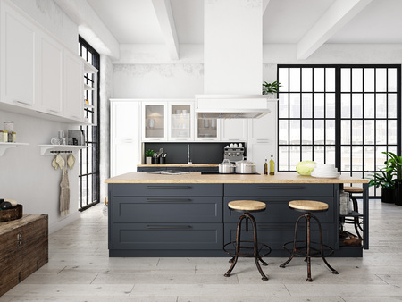 modern nordic kitchen in loft apartment. 3D rendering Banco de Imagens - 78598127