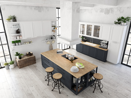 modern nordic kitchen in loft apartment. 3D rendering Banco de Imagens - 80988709