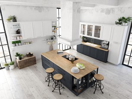 modern nordic kitchen in loft apartment. 3D rendering Imagens - 80988709