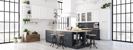 3D rendering of modern kitchen in a loft. wide view