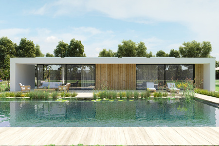 modern house with environmental pool. 3d rendering