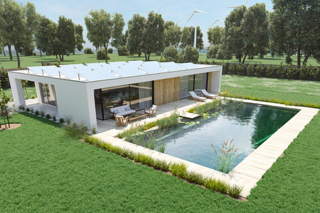 3 d レンダリング。環境池プール付きの家。 写真素材