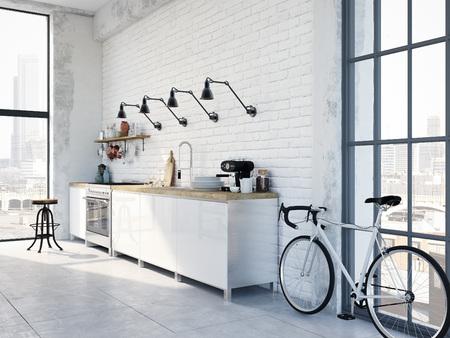 中二階のアパートでモダンな北欧キッチン。3 D レンダリング 写真素材 - 79134045