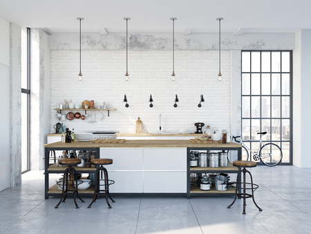 modern nordic kitchen in loft apartment. 3D rendering Stock fotó - 79134046