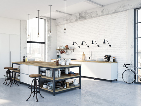 modern nordic kitchen in loft apartment. 3D rendering 免版税图像 - 79134047