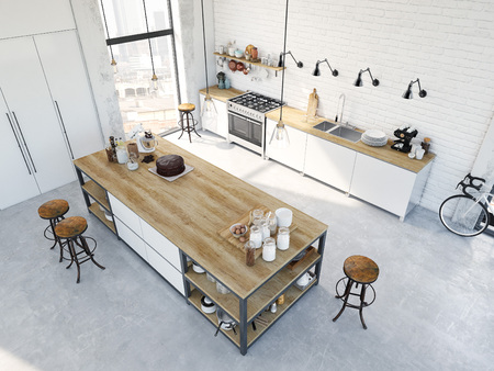 3D rendering of modern kitchen in a loft. top view 스톡 콘텐츠
