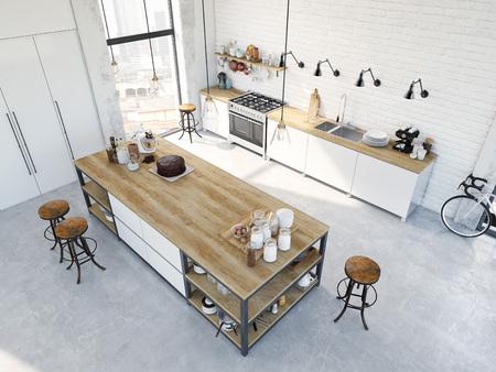 3D rendering of modern kitchen in a loft. top view Standard-Bild