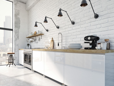 3D rendering of modern kitchen in a loft. Archivio Fotografico