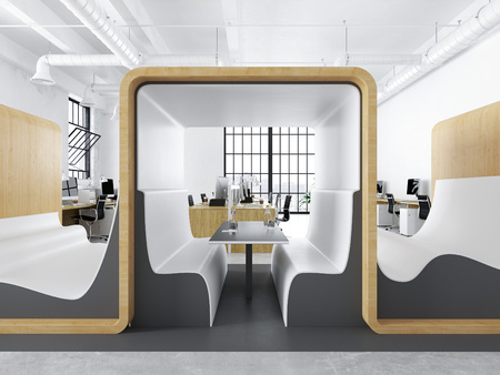 modern office with creative spaces. 3d rendering