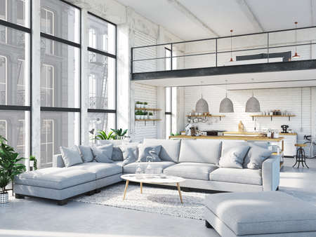 modern loft apartment. 3d rendering 스톡 콘텐츠
