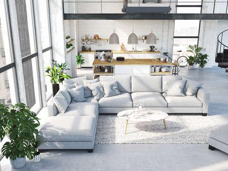 Appartamento moderno loft. Rendering 3D