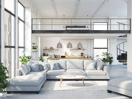 Appartamento moderno loft. Rendering 3D Archivio Fotografico - 80347585