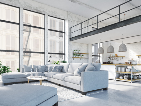 modern loft apartment. 3d rendering Stockfoto