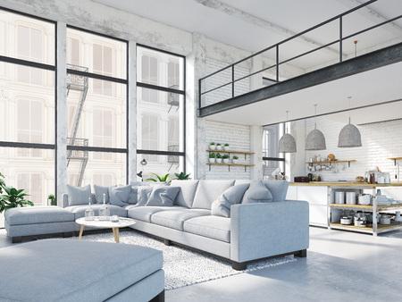 modern loft apartment. 3d rendering Foto de archivo