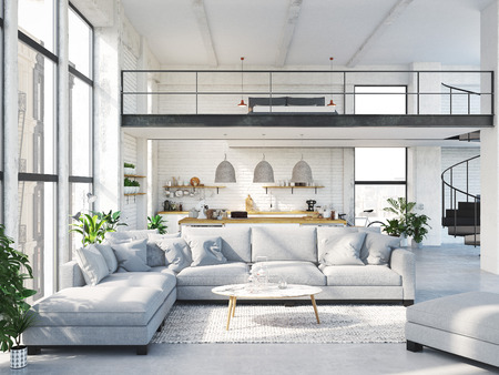 modern loft apartment. 3D rendering Фото со стока