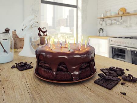 malted: chocolate birthday cake. 3d rendering