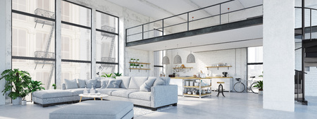 modern loft apartment. 3D rendering Stock fotó