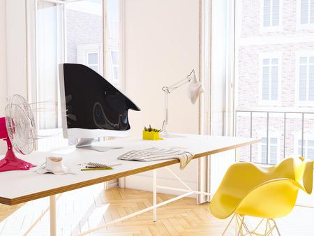 heatwave in the office. 3d rendering Stock Photo