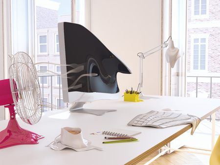 3d rendering. heatwave in the office with melting objects. Stock Photo