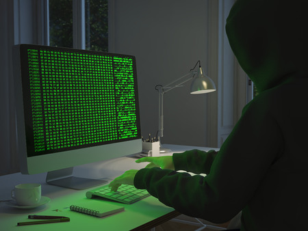 hacker stealing data from pc. 3d rendering