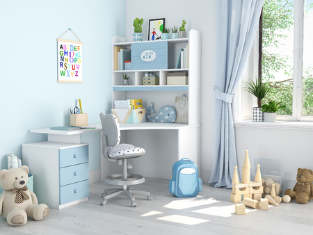 kinderkamer. 3D-rendering Stockfoto
