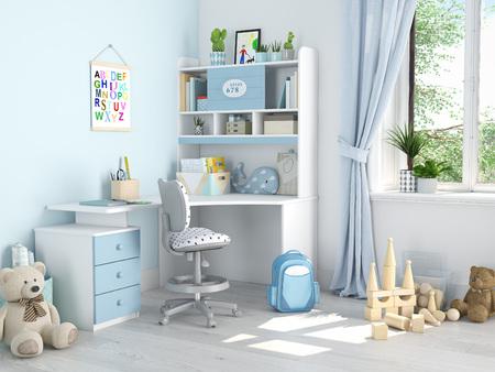 Kinderzimmer . 3D-Rendering Standard-Bild - 82111504
