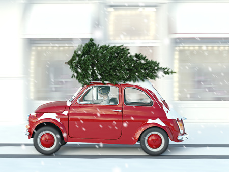 3d rendering. woman driving with christmas tree on car roof.