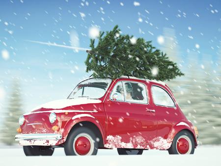 Wiedergabe 3d. Frau, die mit Weihnachtsbaum auf Autodach fährt.