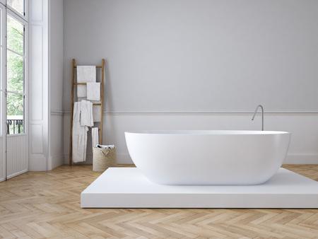 고전적인 고급 욕실. 3 차원 렌더링