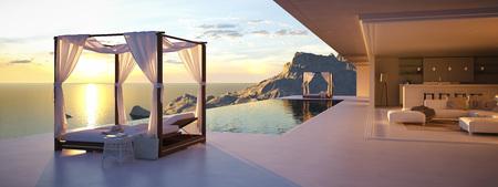 3 d レンダリング。美しい夕日を眺めながらプールで。