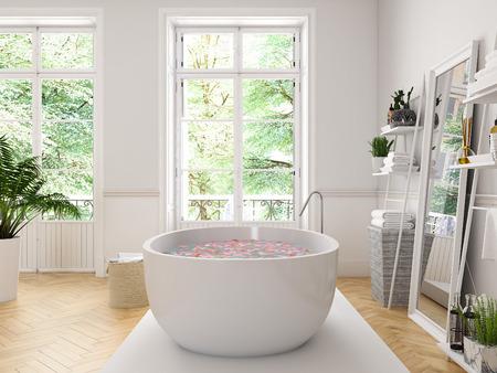 3d 렌더링입니다. 흰색 욕조와 고전적인 고급 욕실입니다.