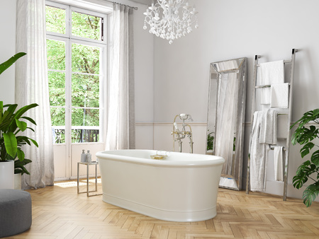 Classic luxury bathroom. 3d rendering